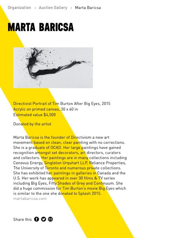 Marta Baricsa Splash 2016 donation to arts umbrella