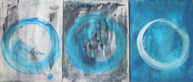 3 untitled paintings by Marta Baricsa.